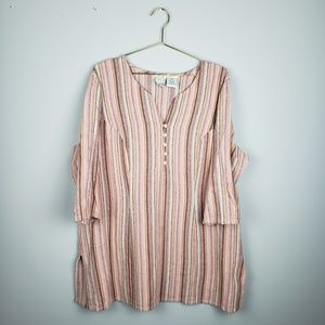 Colorful pinstriped 3/4sleeve blouse with buttons